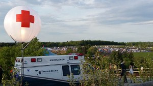 Airstar Crystal near Ambulance as Event Area Markers