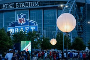 NFL Draft Event Lighting - Airstar at AT&T Stadium in Dallas, Texas provided by Space Lighting